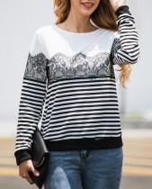 Weißes und schwarzes Streifen-langes Hülsen-Rundhals-Shirt