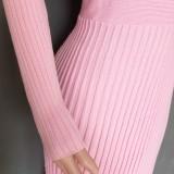 エレガントな無地ロングプリーツ編みドレス