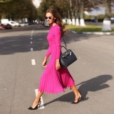 Elegant Plain Color Long Pleated Knitting Dress