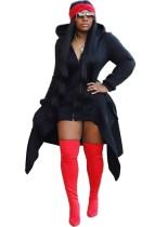 Cor lisa Irregular longo casaco com capuz