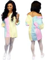 Blusa de manga larga colorida con estampado de rayas