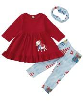 Çocuklar Kız Yazdır Bell Top ve Pantolon Seti