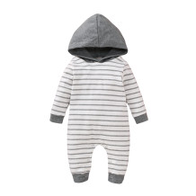 Kids Boy Striped Long Sleeve Hoody Rompers