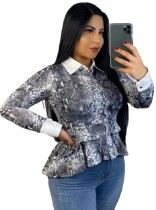 Snake Skin Long Sleeve Peplum Top