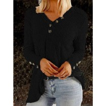 Blank V-Neck Langarm Loose Shirt