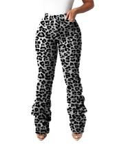 Pantalones de leopardo sexy de cintura alta
