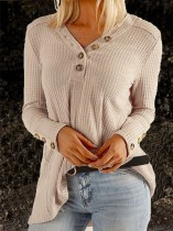 Blank V-Neck Long Sleeve Loose Shirt