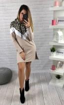 Vestido con capucha y manga larga con estampado de leopardo