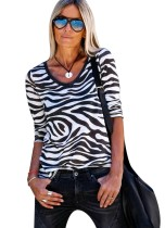V-Neck Long Sleeve Zebra Shirt