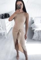 Stricken Sexy unregelmäßiges langes Partykleid