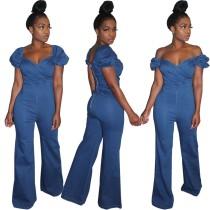 Blauer, eleganter Jeansoverall mit Knallärmeln