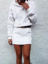 Vestido informal con capucha de manga larga en blanco