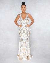 Sexy Pailletten ärmelloses V-Ausschnitt Meerjungfrau Abendkleid