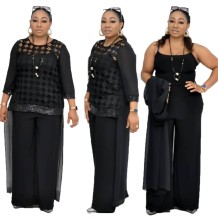 Plus Size Straps Jumpsuit and Hollow Out Shirt