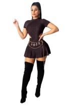 Conjunto de falda y body de manga corta metalizado sexy