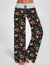 Pantalones estampados navideños de cintura alta