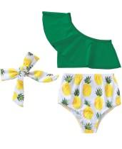 Crianças menina impressão um ombro Swimwear