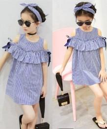 Vestido infantil de verão com listrado para menina e bandana