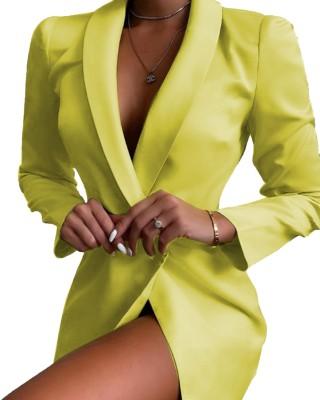 Неоновое платье-пиджак с длинными рукавами