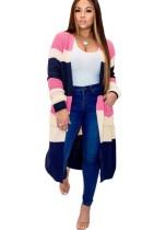 Abrigo suéter largo en contraste con bolsillos