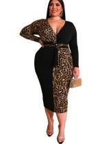 Vestido midi de leopardo con cuello en v talla grande