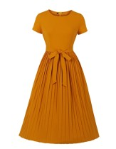 Plain Color Vintage Pleated Skater Dress