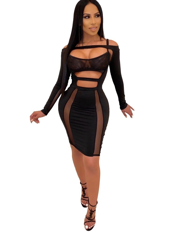 Robe Moulante Sexy En Gros A Manches Longues Global Lover
