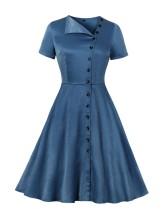 Vintage Button Up Blue Skater Dress