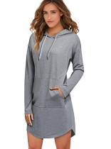 Long Sleeve Grey Hoody Dress with Front Pocket