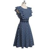 Vintage Polka Hollow Out Skater Kleid mit Rüschenärmeln