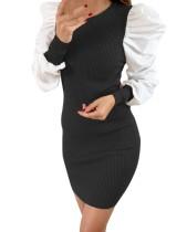 Mini-robe en maille vintage noire avec manches contrastantes