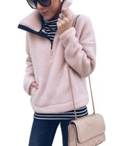 Pink Polar Fleece Top with Stand Collar