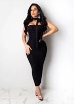 Чёрное металлическое платье без бретелек Midi