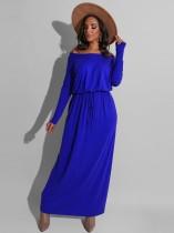 Schulterfreies, langärmliges, schlichtes, lässiges, langes Kleid