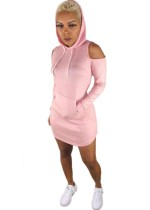 Blank Cut Out Tight Hoody Dress
