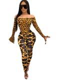 Leopard Off Shoulder Body und Leggingset