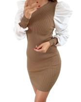 Mini-robe en maille vintage marron avec manches contrastantes