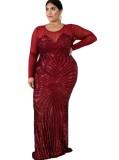 Plus Size Pailletten Langarm Meerjungfrau Abendkleid