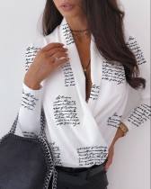 White and Black Print Long Sleeve Wrap Top
