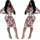 Ethnische Langarm V-Ausschnitt, figurbetontes Kleid