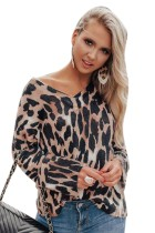 Langärmliges, loses Hemd mit V-Ausschnitt und Leopardenmuster
