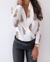 Fruite Print Long Sleeve Wrap Top
