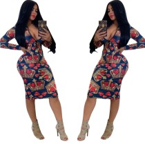 Print Ethnic Long Sleeve V-Neck Bodycon Dress
