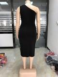 Plus Size Pailletten One Shoulder Party Kleid