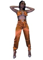 Sexy Satin Bandeau Top and Pants Set