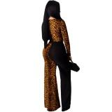 Sexy Leopard Cross Top und Hose Set