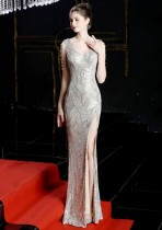 Occassional Sequins V-Neck Slit Evening Dress