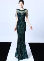 Gelegentliche Pailletten Fransen Meerjungfrau Abendkleid