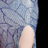 Gelegentliche Pailletten V-Ausschnitt Slit Abendkleid