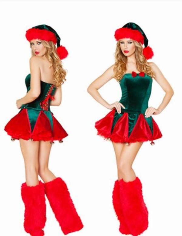 Frauen rot und grün Weihnachtskostüm